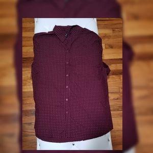 true rock men's burgundy button down shirt